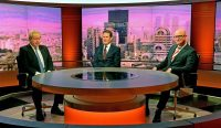 (left to right) Foreign Secretary Boris Johnson, Shadow Brexit Secretary Sir Keir Starmer and Ukip leader Paul Nuttall during filming for the BBC One current affairs programme The Andrew Marr Show at New Broadcasting House in London. (Photo by Victoria Jones/PA Images via Getty Images)