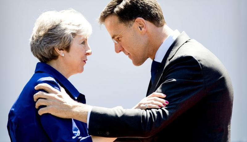 Theresa May meets Dutch Prime Minister Mark Rutte in The Hague on 3 July. Photo: Getty Images.