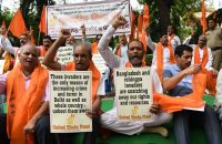 Members of United Hindu front rallied to demand the deportation of Bangladeshi and Rohingya Muslims in New Delhi last Sunday.CreditSajjad Hussain/Agence France-Presse — Getty Images
