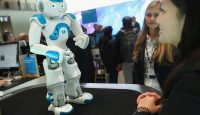The Watson robot is displayed at the IBM stand at a digital technology trade fair in Hanover, Germany. Photo: Sean Gallup/Getty Images.
