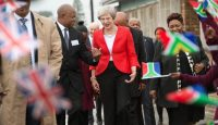 Theresa May visits a school in Cape Town on 28 August as she begins her visit to South Africa, Nigeria and Kenya. Photo: Getty Images.