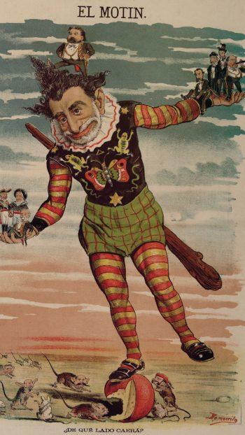 """""""¿De qué lado caerá?"""", caricatura publicada en 1881 en las páginas centrales del semanario satírico El Motín y obra de Eduardo Sojo, 'Demócrito'."""
