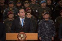 El presidente de Guatemala, Jimmy Morales, se dirigió a la nación en un discurso televisado el 31 de agosto. Anunció que no se renovaría el mandato de la Cicig para 2019. Credit Oliver De Roos/Associated Press
