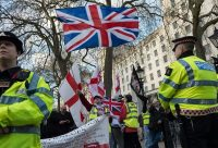 Immigration opponents in 2017 at a demonstration celebrating Britain's planned exit from the European Union.CreditWiktor Szymanowicz/Barcroft Media, via Getty Images