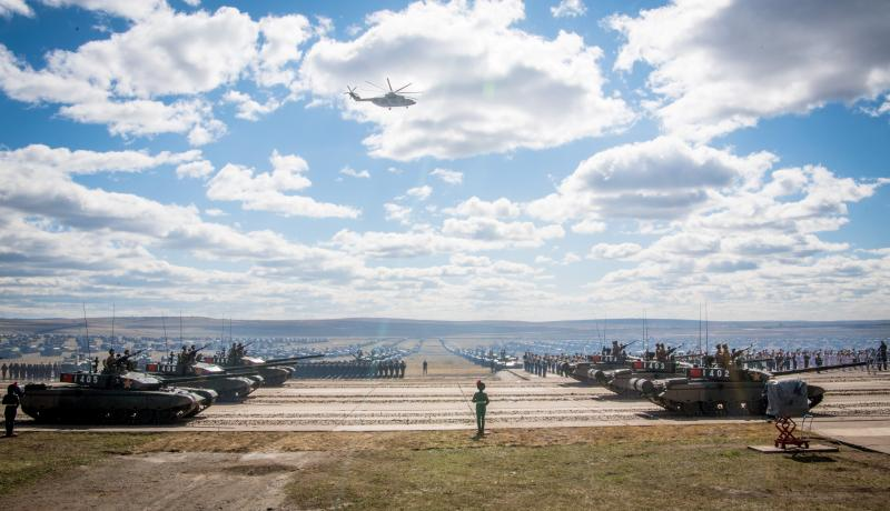 Russian, Chinese and Mongolian troops and military equipment parade during the Vostok-2018 military drills. Photo: Getty Images.