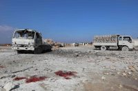Le marché déserté de la ville de Saraqib, dans la province d'Idlib, après un raid aérien, le 29 janvier. Photo Omar Haj Kadour. AFP