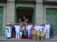 A scene from the launch party of the Ilê Omolu Oxum CD in 2005 in front of the National Museum of Brazil in Rio de Janeiro. (Antonio Carlos de Souza Lima)