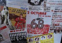 Carteles y fotografías sobre el movimiento del 68 en México, que culminó en la matanza de decenas de estudiantes que exigían libertad de expresión. CreditMarco Ugarte/Associated Press