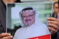 A protester held a picture of missing Saudi journalist Jamal Khashoggi during a demonstration in front of the Saudi consulate in Istanbul on Monday.CreditCreditTolga Bozoglu/EPA, via Shutterstock