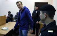 Russian opposition leader Alexei Navalny attends a hearing at the Simonovsky District Court in Moscow on Sept. 24. (Yuri Kochetkov/EPA-EFE/Shutterstock)