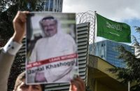 A protestor holds a picture of missing journalist Jamal Khashoggi during a demonstration in front of the Saudi Arabian consulate, on October 5, 2018 in Istanbul. - Jamal Khashoggi, a veteran Saudi journalist who has been critical towards the Saudi government has gone missing after visiting the kingdom's consulate in Istanbul on October 2, 2018, the Washington Post reported. (Photo by OZAN KOSE / AFP) (Photo credit should read OZAN KOSE/AFP/Getty Images)