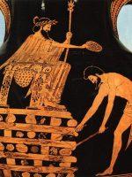 Creso, en lo alto de su pira funeraria tras ser condenado a muerte por Ciro el Grande. Grabado en un ánfora ática del siglo V a.C. que expone el Museo del Louvre de París.