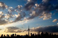 The Toronto skyline is silhouetted in 2015. (Jim Watson/AFP/Getty Images)
