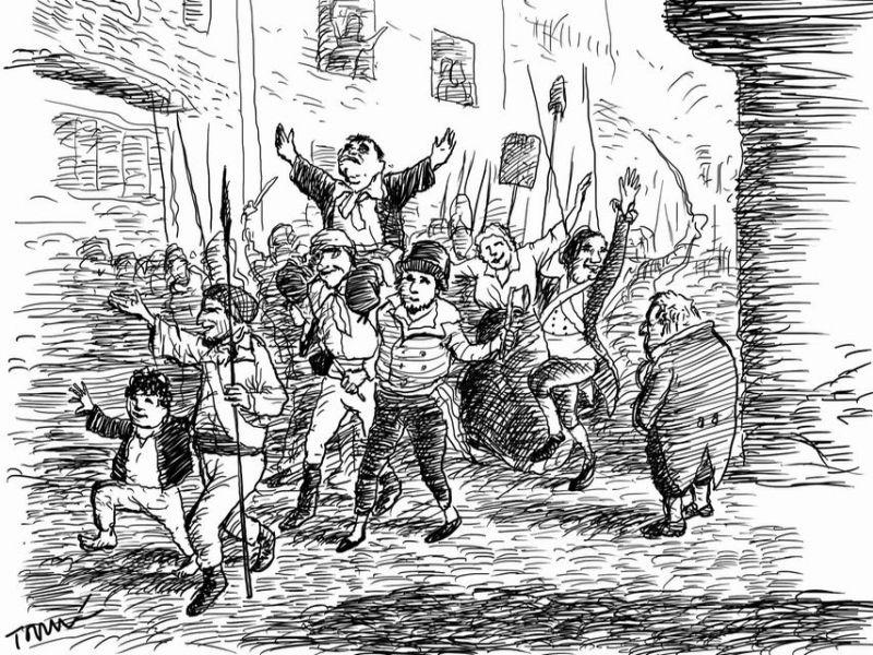 Cortejo triunfal de Marat. Ilustración: Tomás Serrano