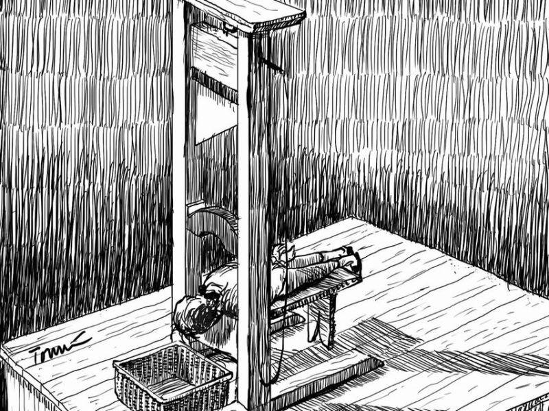Brissot, en la guillotina. Ilustración: Tomás Serrano