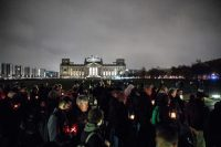 Far-right marchers passed by the Reichstag in Berlin this month on the 80th anniversary of the Kristallnacht pogrom against Jews. CreditCreditOmer Messinger/EPA, via Shutterstock