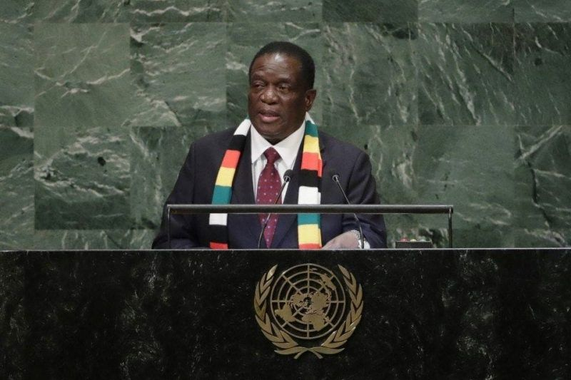 Zimbabwean President Emmerson Mnangagwa addresses the 73rd session of the U.N. General Assembly on Sept. 26. (Frank Franklin II/AP)