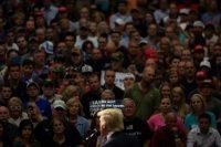 Donald Trump, cuando era candidato a la presidencia, en agosto de 2016, en un evento de campaña en Ohio. Credit Damon Winter/The New York Times