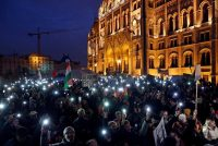 A rally in support of Central European University in Kossuth Square, in front of Parliament, in Budapest on Saturday.CreditCreditBernadett Szabo/Reuters