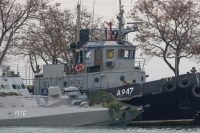 Seized Ukrainian military vessels are seen in a port of Kerch, Crimea, on Nov. 26, 2018. (STR/AFP/Getty Images)