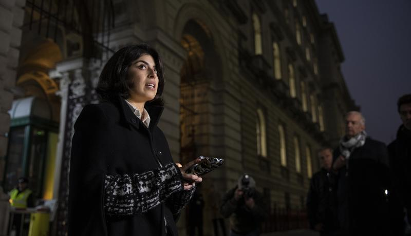 Daniela Tejada, wife of Matthew Hedges, speaks outside the Foreign and Commonwealth Office after meeting with Foreign Secretary Jeremy Hunt on 22 November. Photo: Getty Images.