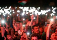 Protesters demanding a free press at a rally in Budapest in April. Laszlo Balogh/Getty Images