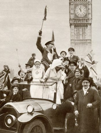 Celebrating the end of World War I in London. Credit Universal History Archive/UIG, via Getty Images