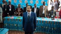 In this photo taken on 7 October 2018 Cameroon's incumbent President Paul Biya looks on as he votes at the polling station in Bastos neighbourhood in the capital Yaounde during Cameroon's presidential election. ALEXIS HUGUET / AFP