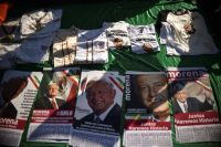 Merchandise with the image of Mexico's new president, Andrés Manuel López Obrador, for sale the day of his inauguration in Mexico City on Saturday. (Rodrigo Arangua/AFP/Getty Images)