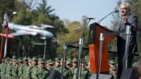 Mexican President-elect Andres Manuel Lopez Obrador addresses the troops at Military Camp 1 in Mexico City, Mexico, 25 November 2018. REUTERS