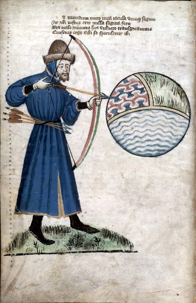 "A spherical earth of air, land and water dominates this illustration, taken from a Latin poem, the ""Vox Clamantis,"" or ""The Voice of One Crying Out."" It was written by the English writer John Gower in support of the Great Rising, a peasant rebellion of 1381. In this image, the author shoots his arrows at the earth, but adds that it will not harm the righteous.CreditCreditGlasgow University Library"