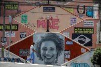 Le portrait de Marielle Franco, la conseillère municipale de Rio assassinée le 14 mars, sur un mur de São Paulo, le 28 novembre. Photo Sebastião Moreira. EFE. Sipa