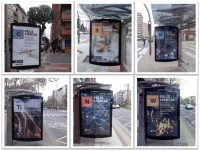 Carteles con los que la Universidad de La Rioja ha dado la bienvenida a 2019 y al Año Internacional de la Tabla Periódica en las paradas de autobús de la ciudad.