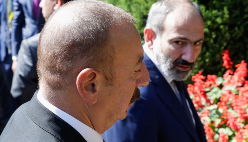 Azerbaijan's president Ilham Aliyev and Armenia's prime minister Nikol Pashinyan ahead of a CIS Heads of State Council meeting in September 2018. Photo: Getty Images.