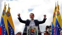 Juan Guaido, President of Venezuela's National Assembly, reacts during a rally against Venezuelan President Nicolas Maduro's government. Venezuela January 23, 2019. REUTERS/Carlos Garcia Rawlins