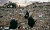 'Terrorism is the use of force against civilians for political purposes. By this definition Operation Cast Lead was an act of state terrorism.' Palestinian women in Jebaliya, January 2009. Photograph: Hatem Moussa/AP