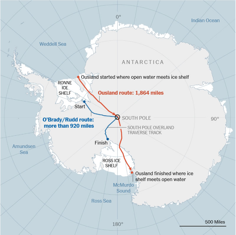 By The New York Times | Sources: Borge Ousland (1996-97 route); GPS locations of campsites and planned Antarctic Logistics & Expeditions route (O'Brady and Rudd routes); all routes shown are approximated.