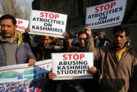 Members of the Kashmir Chamber of Commerce and Industry (KCC&I) protest in Srinagar, the summer capital of Indian Kashmir, Friday. (Farooq Khan/EPA-EFE/REX)