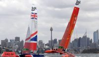 Sailing teams from Britain and China compete in a race in Sydney, Australia. Photo: Getty Images.