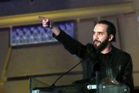 Nayib Bukele won the presidential election in El Salvador with more than 53 percent of the votes, ending the country's two-party system. (Rodrigo Sura/EPA-EFE)