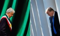 El presidente de México, Andrés Manuel López Obrador, el 1 de diciembre de 2018, y el presidente de Estados Unidos, Donald Trump, el 15 de febrero de 2019 CreditAlfredo Estrella/Agence France-Presse — Getty Images; Brendan Smialowski/Agence France-Presse — Getty Images