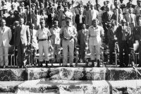 In 1974, Haile Mariam Mengistu (3rd-L), was the Ethiopian leader and the chairman of the Provisional Military Administration Council (1977-87). He will then become President of Ethiopia (1987-91).