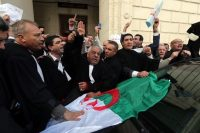 Algerian lawyers protest a fifth term for President Abdelaziz Bouteflika in Algiers on Monday. (Mohamed Messara/EPA-EFE/Shutterstock)