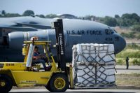 A shipment of food and medicine for Venezuela is unloaded from a U.S. military aircraft in Cucuta, Colombia, a city near the border with Venezuela, on Feb. 16. (Raul Arboleda/AFP/Getty Images)