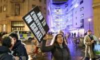 A protester outside the BBC in London this month. Photograph: Penelope Barritt/Rex/Shutterstock