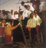 'El regreso a Sevilla de Juan Sebastián Elcano', cuadro de Elías Salaverría, de 1919, expuesto en el Museo Naval de Madrid.