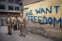 Indian police officers in Srinagar, Kashmir, in 2016 in the wake of protests over the killing of a separatist leader. Credit Dar Yasin/Associated Press