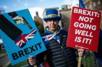 Anti-Brexit protester Steve Bray demonstrates outside the House of Parliament on March 11. (Jack Taylor/Getty Images)