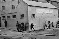 Street fighting against British soldiers in 1971 in Londonderry, Northern Ireland. Credit Bruno Barbey/Magnum Photos