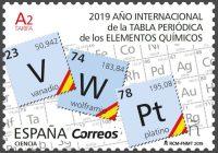Sello conmemorativo del Año Internacional de la Tabla Periódica.